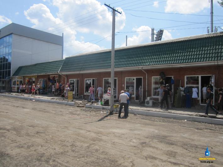 Работы на месте снесенного рынка на улиц