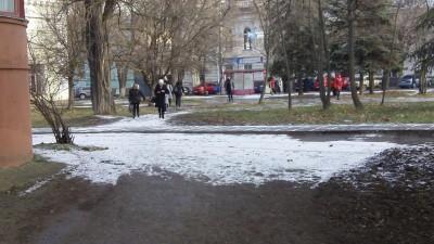 В Симферополе неожиданно выпал снег