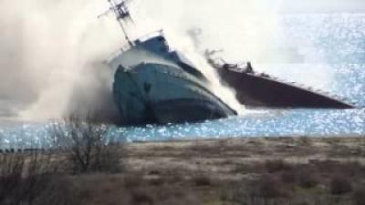 Россияне взорвали корабль на Донузлаве